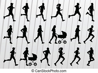 マラソン, ランナー, 人々, シルエット, 背景, ベクトル