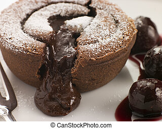 Hot Chocolate Fondant Pudding with Black Cherry Syrup