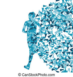Runner abstract vector background, woman made of fragments...