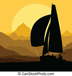 Yacht sailing vector background concept in front of...