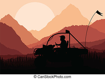 All terrain vehicle rider background vector for poster
