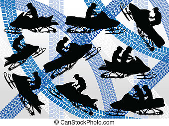 Snowmobile motorbike silhouette vector - Snowmobile...