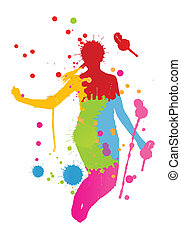 Colorful bright ink splashes and happy person vector...