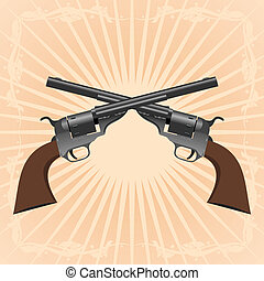 Revolvers - Two old pistol on abstract diverging rays.