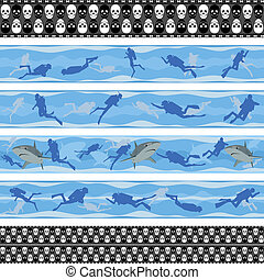 Seamless background with scuba dive - Seamless pattern with...