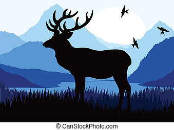 Deer in the forest vector background