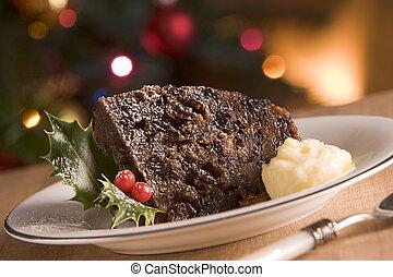 mantequilla, aguardiente, Pudín, porción, navidad