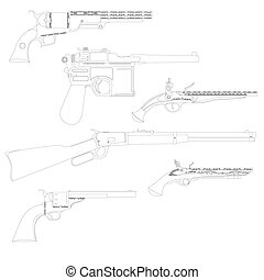 The contours of weapons - Contour image of various firearms...