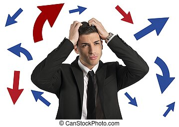 Confused way of a businessman - Concept of Confused way of a...