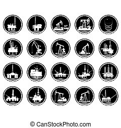 The icons of the oil industry - A set of icons with the...