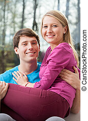 Young married couple in home - Young married couple spending...