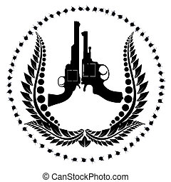Two revolvers and a wreath