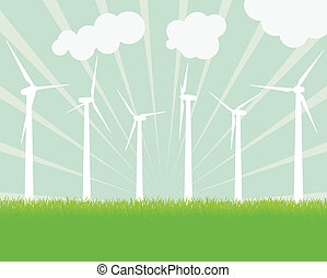 Ecology wind generator vector background landscape for...