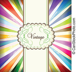 Vintage colorful template with retro sun burst background