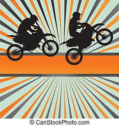 raça, motocicleta, estouro, vetorial, fundo