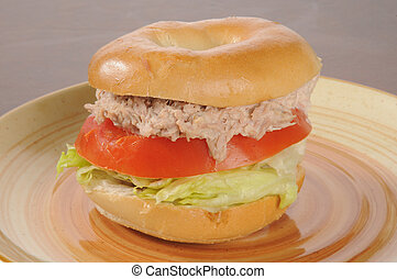 Tuna sandwich on a bagel