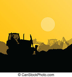 Bulldozer and excavator loader at industrial construction...