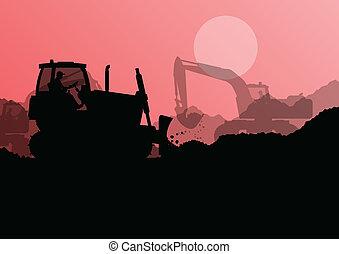 bulldozer, excavateur, Chargeur, industriel, construction,...