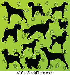Dogs and dog footprints detailed silhouettes illustration collection background vector