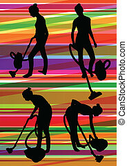 Woman maid with vacuum cleaner and carpet sweeper cleaning rug floor in colorful illustration background vector