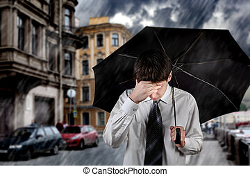 Sad Man under the Rain - Sad Young Man walking with Umbrella...