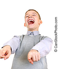 Boy Laughing - Boy pointing and Laughing. Isolated on the...