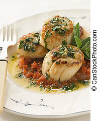 Pan Fried Scallops Piperade and Garlic Butter