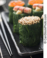 Rolled Spinach Three Ways-Snow Crab Toasted Sesame Seeds and...