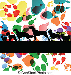 Dogs and dog footprints silhouettes colorful illustration collection background vector