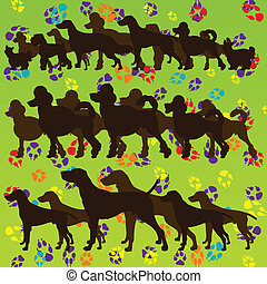 Dogs and dog footprints colorful silhouettes vector