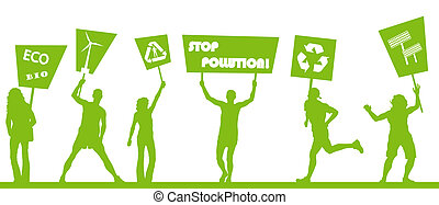 Green protest, picket against pollution. Ecology world concept v