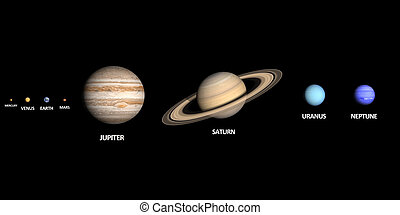 The Planets of the Solar System - A rendered comparison of...