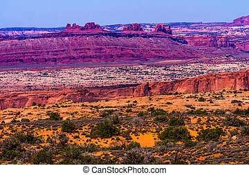 Colorful Yellow Grass Lands Red Canyon Moab Fault Windows...