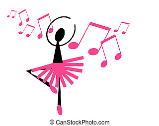 ballerina - illustration of a happy dancing ballerina