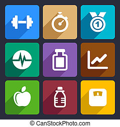 Fitness flat icons set 17 - Fitness and sport icons set for...