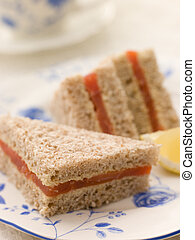 Smoked Salmon Sandwich on Brown Bread with Afternoon Tea