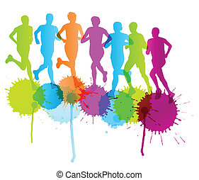 Group of runners vector background concept splashes