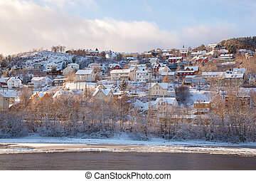 Winter view of houses in Trondheim city Norway