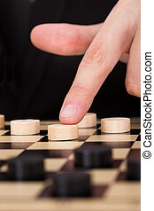 Businessman Playing Checkers - Close-up Businessman Playing...