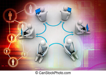 3d illustration of people working o