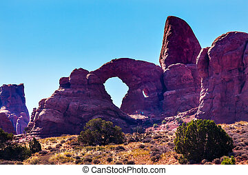 Turret Arch Windows Section Arches National Park Moab Utah...