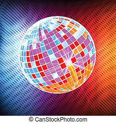Neon disco ball background vector - Neon disco ball abstract...