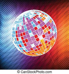 Neon disco ball background vector - Neon disco ball abstract...