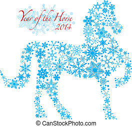 2014 Chinese Horse with Snowflakes Pattern Illusrtation -...