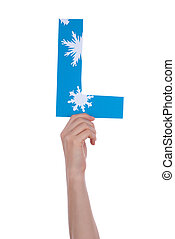 Person Holding L - A Person holding a L with Snowflakes,...