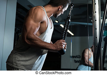 Triceps Exercise - Fit Man On The Triceps Pulldown Weight...