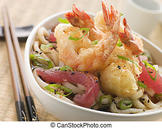 Bowl of Tempura Tiger Prawn and Udon Noodle Broth with...
