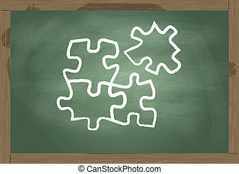 Blackboard with puzzle vector solution