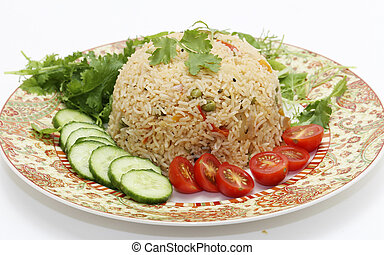 Tomato biryani and salad - A healthy tomato thakkali...