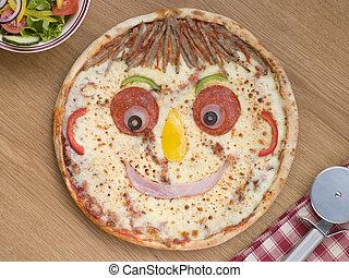 smiley, fait face, pizza, côté, salade